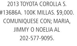 2013 Toyota Corolla S.