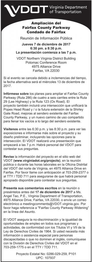 Ampliación Del Fairfax County Parkway Condado De Fairfax