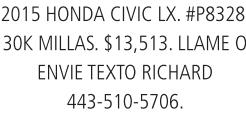 2015 Honda Civic LX.