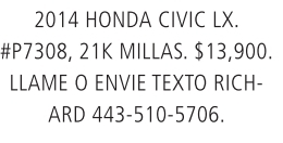 2014 Honda Civic LX.