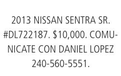 2013 Nissan Sientra SR.