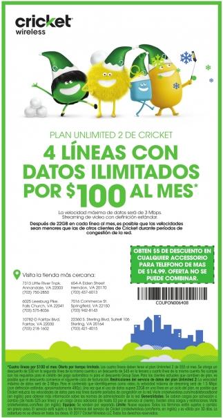 4 Líneas Con Datos Ilimitados Por $100 Al Mes