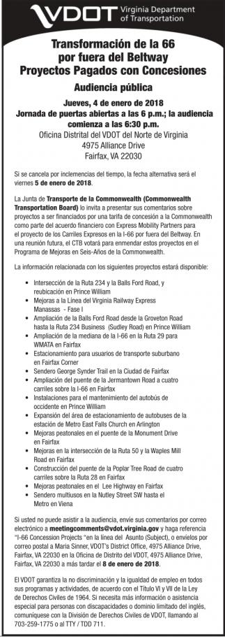 Transformación De La 66 Por Fuera Del Beltway Proyectos Pagados Con Concesiones