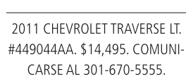2011 Chevrolet Traverse LT.