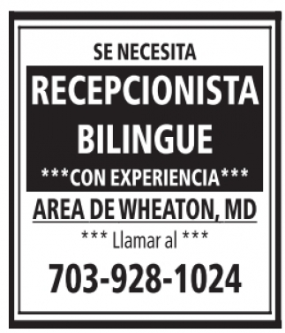 Recepcionista Bilingue