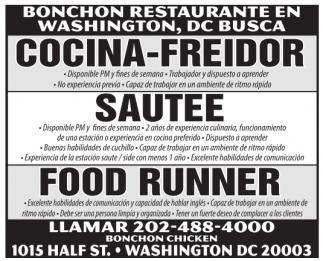 Cocina-Freidor, Sautee, Food Runner