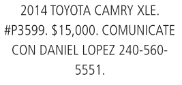 2014 Toyota Camry XLE.