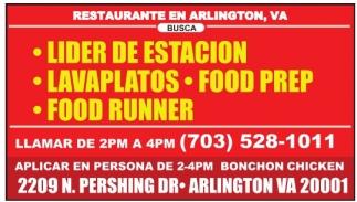 Se busca personal para restaurante en arlington, VA