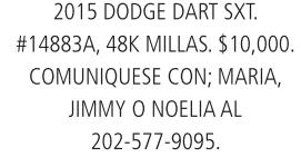 Dodge dart SXT 2015