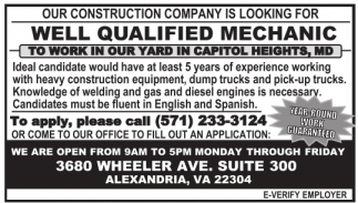 Our construction company is looking for
