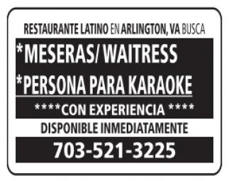 Meseras / Personas para hacer Karaoke