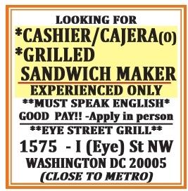 Grill Sandwich Maker/Cashier/Kitchen Help