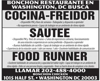 Cocina-Freidor / Sautee / Food Runner