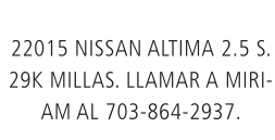 2015 Nissan Altima 2.5 S.