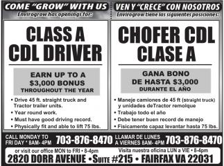 Class A CDL Driver / Chofer CDL Clase A