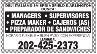 Pizza Maker / Cajeros(as) / Prep de Sandwich