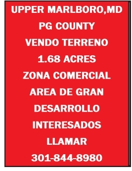 Pg County Vendo Terreno