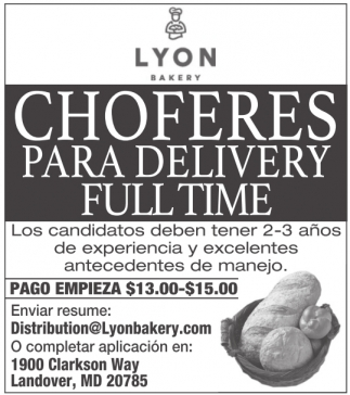 Choferes para Delivery