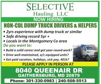 Non CDL Dump Truck Drivers & Helpers