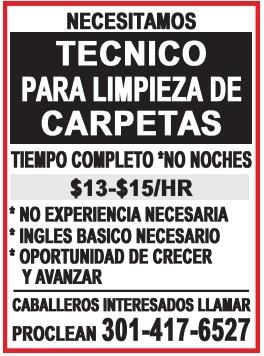 Tecnico de Limpieza de Alfombras / Carpet