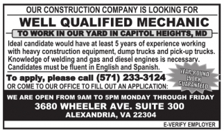 Wel Qualified Mechanic