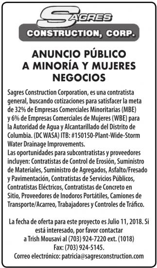 Anuncio Publico a Minoria y Mujeres con Negocios