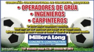 Operadores de Grua - Ingenieros - Carpinteros