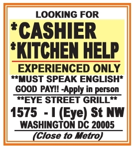 Cashier - Kitchen help