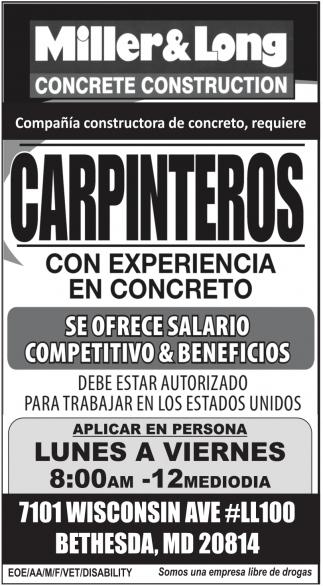 Carpinteros con Experiencia en Concreto