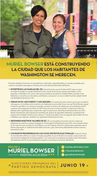 Muriel Bowser esta Construyendo la Ciudad que los Habitantes de Washington se Merecen