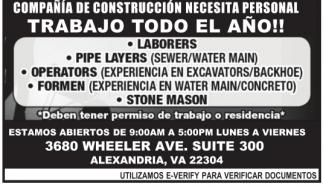 Compañia de Construccion Necesita Personal