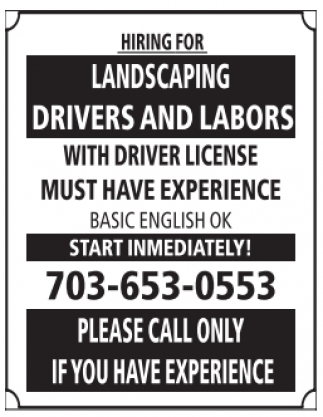Landscaping, Drivers and Labors