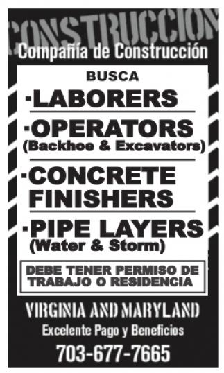 Laborers / Operators / Concrete Finishers / Pipe Layers