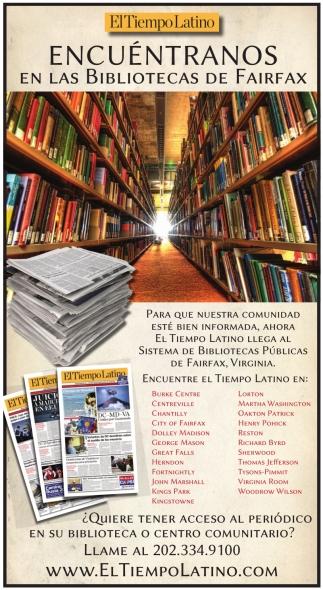 Encuentranos en las Bibliotecas de Fairfax