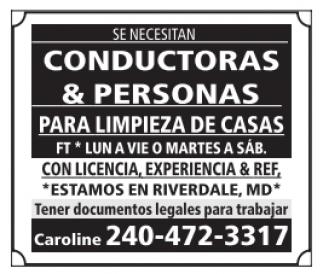 Conductoras y Personas para Limpieza de Casas