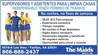 Supervisores y Asistentes para Limpiar Casas