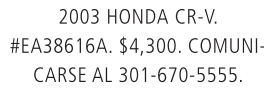 203 Honda CR-V