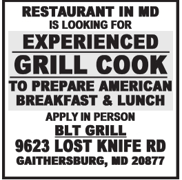 Experienced Grill Cook