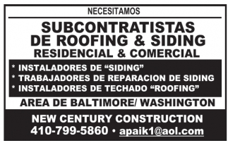 Subcontratistas de Roofing & Siding