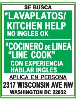 Lavaplatos/ Kitchen Help