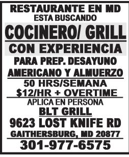 Cocinero/Grill Con Experiencia