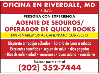 Agente de Seguros/Operador de Quick Books