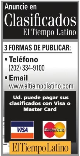 Anuncia en Clasificados El Tiempo Latino