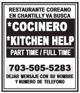 Cocinero/Kitchen Help