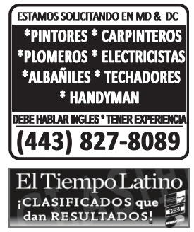 Estamos Solicitando en MD & DC