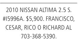 2010 Nissan Altima 2.5s