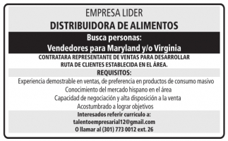 Vendedores para Maryland y/o Virginia