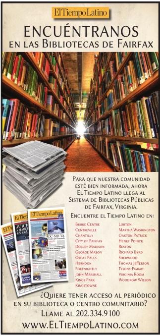 Encuentranosen las Bibliotecas de Fairfax