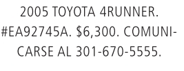 2005 Toyota 4 Runner