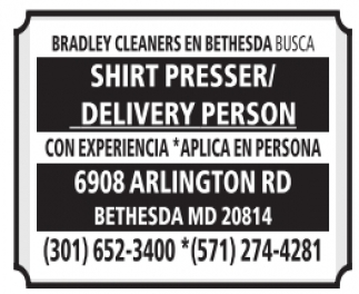 Shirt Presser / Delivery Person